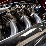 view from beneath of Indian Four cylinder engine 1930
