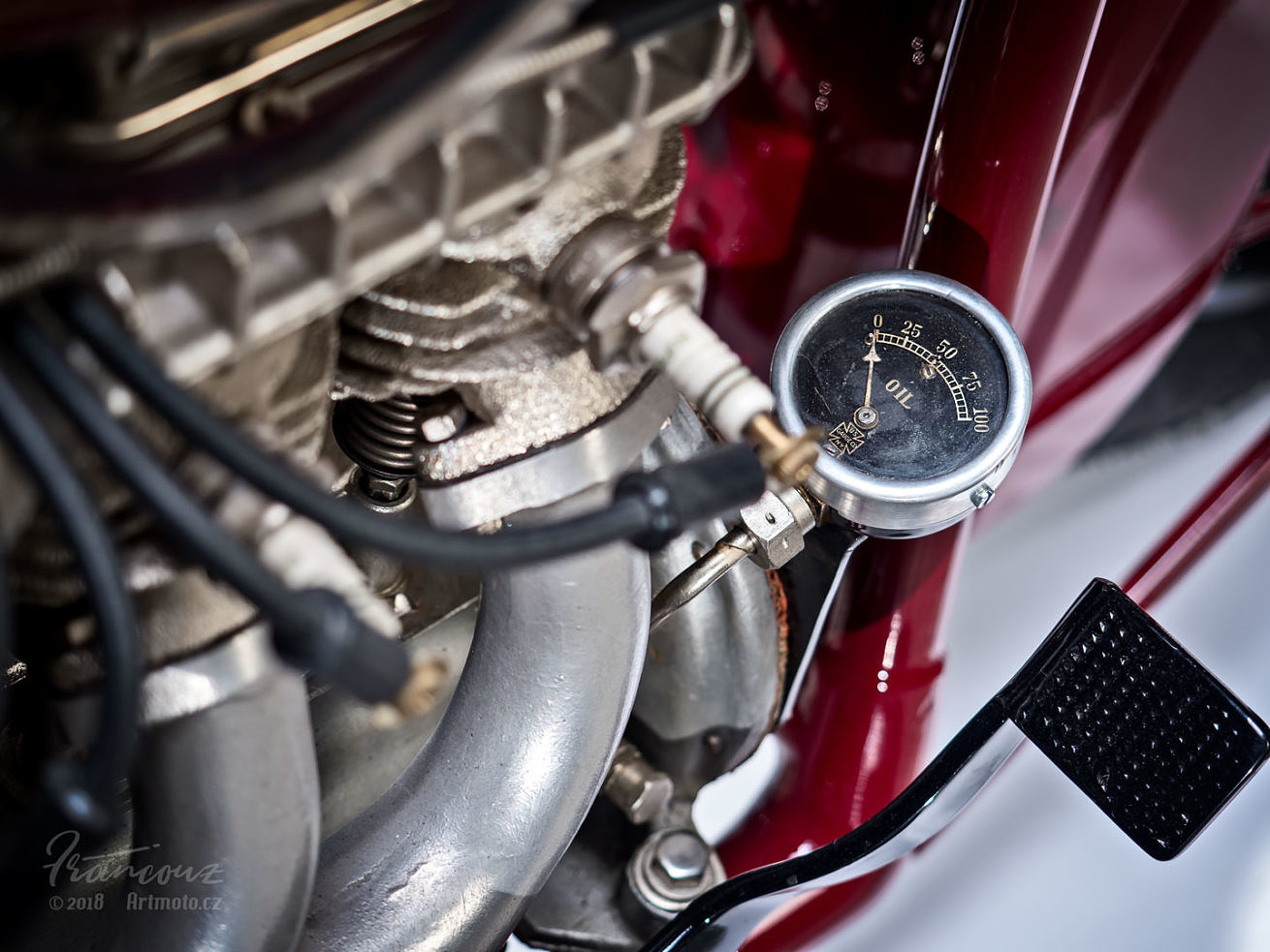 Close up phtograhs of oil gauge vintage Indian Four 1930