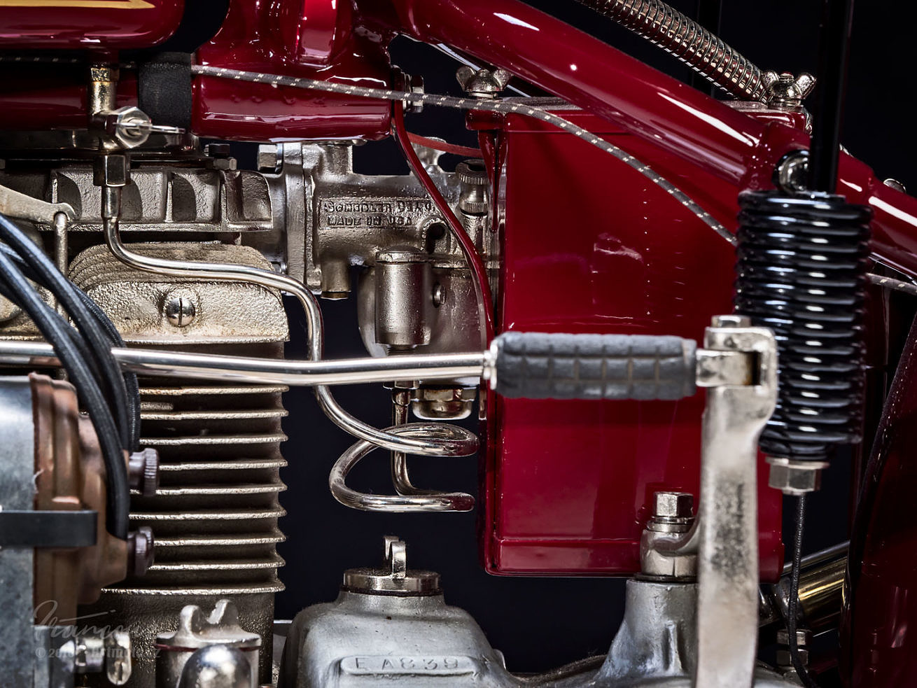 Left view of engine vintage Indian Four 1930